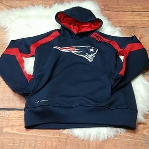 NFL Patriots sweater with hoodie blue sz m